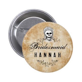 Halloween Skeleton Brown Gothic Bridesmaid Pinback Button