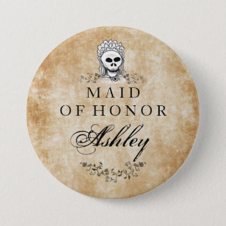 Halloween Skeleton Brown Gothic Maid of Honor Pinback Button