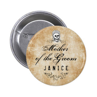 Halloween Skeleton Brown Gothic Mother of Groom Pinback Button