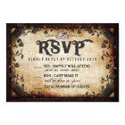 Halloween Skeleton Brown Gothic Wedding RSVP Card