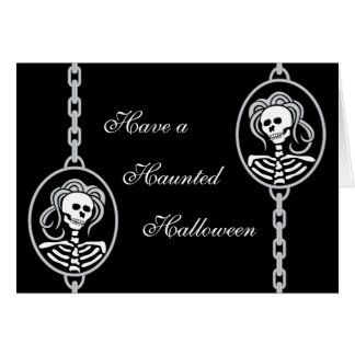 Halloween Skeleton Cameo Greeting Card