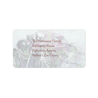 Halloween Skeleton & Cherub Address Label