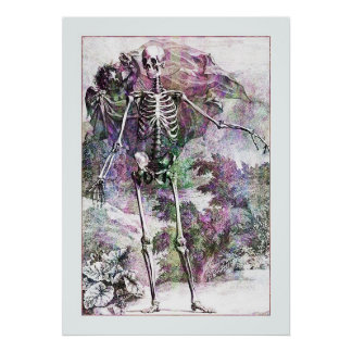 Halloween Skeleton & Cherub Poster