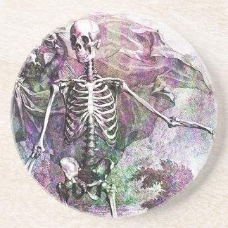 Halloween Skeleton & Cherub Sandstone Coaster