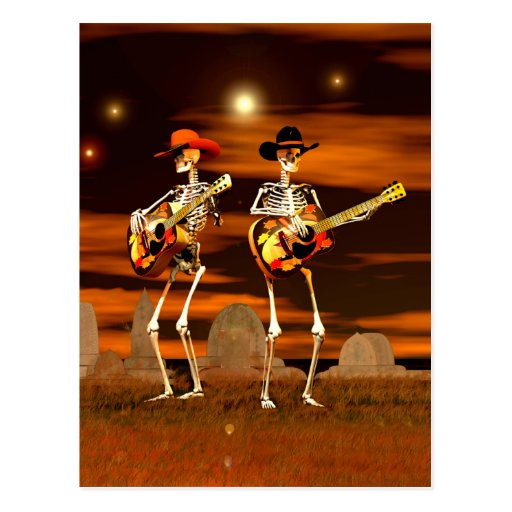 Halloween Skeleton Concert Postcard