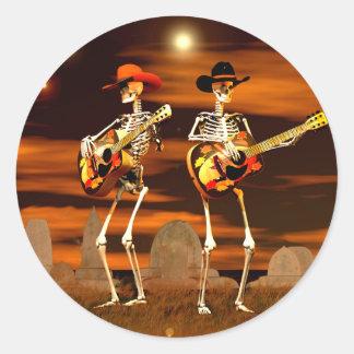 Halloween Skeleton Concert Round Stickers
