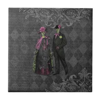 Halloween Skeleton Couple Ceramic Tile