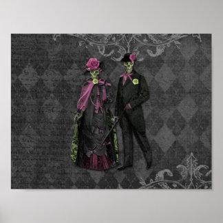 Halloween Skeleton Couple Poster