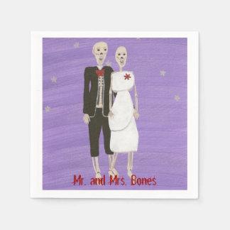 Halloween Skeleton Couple Wedding Napkins