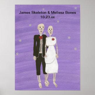Halloween Skeleton Couple Wedding Poster