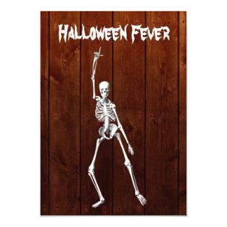 Halloween Skeleton Fever Invitation on Wood