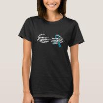 Halloween Skeleton Hand On Ovarian Cancer Ribbon T-Shirt