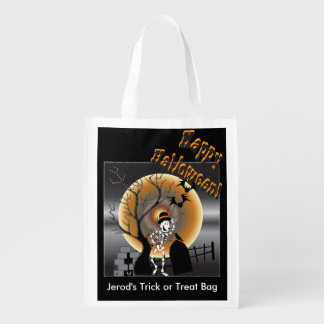 Halloween Skeleton Illustration Grocery Bag
