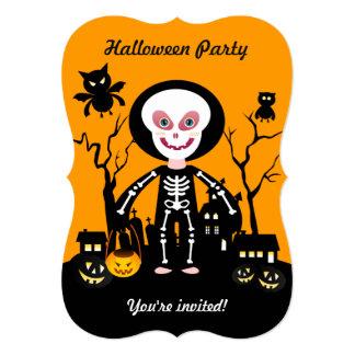 Halloween skeleton kid goes trick or treating card