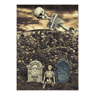 Halloween Skeleton Party 4.5x6.25 Paper Invitation Card