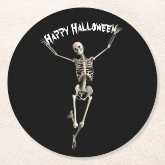 Halloween Skeleton Round Paper Coaster