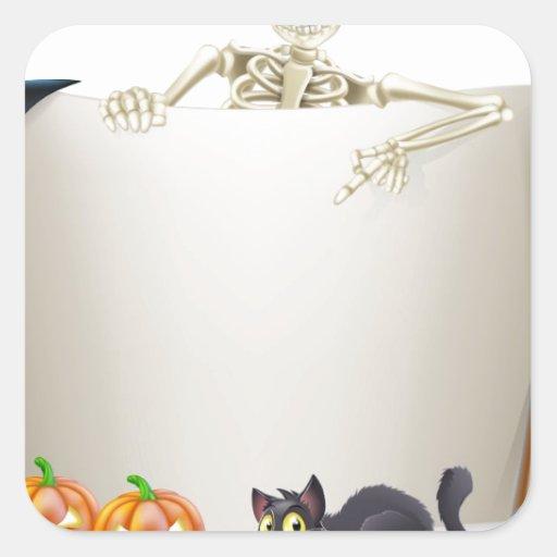 Halloween Skeleton Scroll Square Sticker