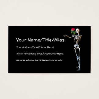 Halloween Skeleton With Rose Business Card