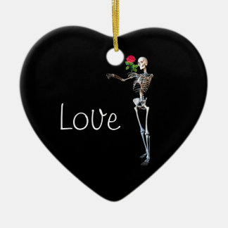 Halloween Skeleton With Rose Ceramic Ornament