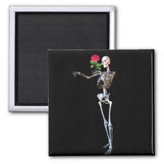 Halloween Skeleton With Rose Magnet