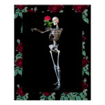 Halloween Skeleton With Rose Posters