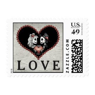 Halloween Skeletons Black & Gray Heart LOVE Stamp
