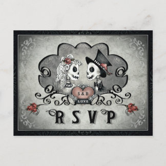 Halloween Skeletons Black Gray & Red Heart RSVP Invitation Postcard