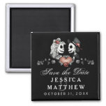 Halloween Skeletons Black Heart Save the Date 2 Inch Square Magnet