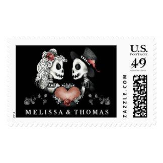 Halloween Skeletons Black Red White Wedding Names Postage Stamp