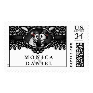 Halloween Skeletons Black & White Elegant Wedding Stamp