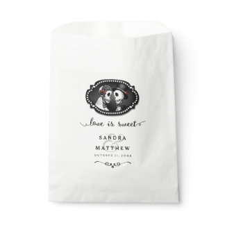 Halloween Skeletons Black & White Love is Sweet Favor Bag