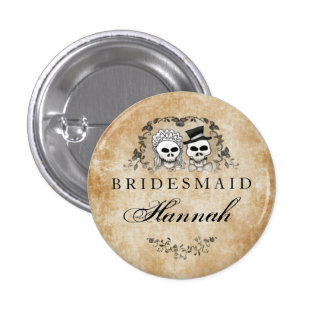 Halloween Skeletons Brown Gothic Bridesmaid Button