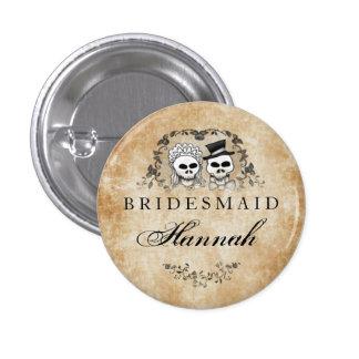 Halloween Skeletons Brown Gothic Bridesmaid Button