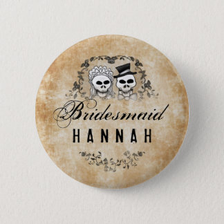 Halloween Skeletons Brown Gothic Bridesmaid Pinback Button