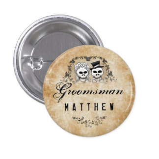 Halloween Skeletons Brown Gothic Groomsman Button