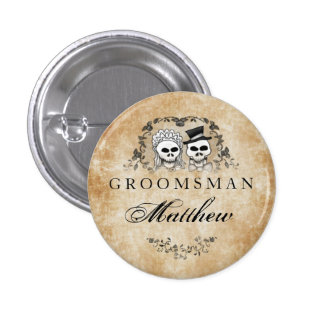 Halloween Skeletons Brown Gothic Groomsman Pinback Button