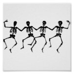 Halloween Skeletons Dancing Poster