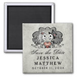 Halloween Skeletons Gray Black Heart Save the Date 2 Inch Square Magnet