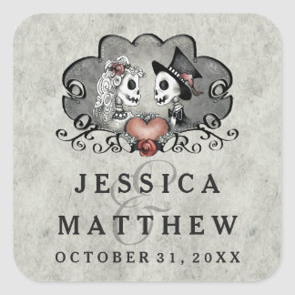 Halloween Skeletons Gray Black Names Wedding Date Square Sticker