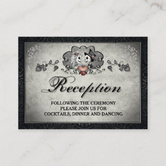 Halloween Skeletons & Heart Black Gray Reception Enclosure Card