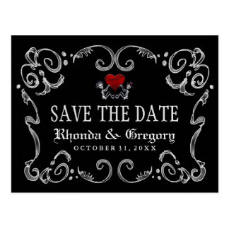 Halloween Skeletons & Heart Matching Save the Date Postcard