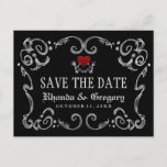 🎃  Halloween Skeletons Heart PHOTO on Back Save Date Announcement Postcard