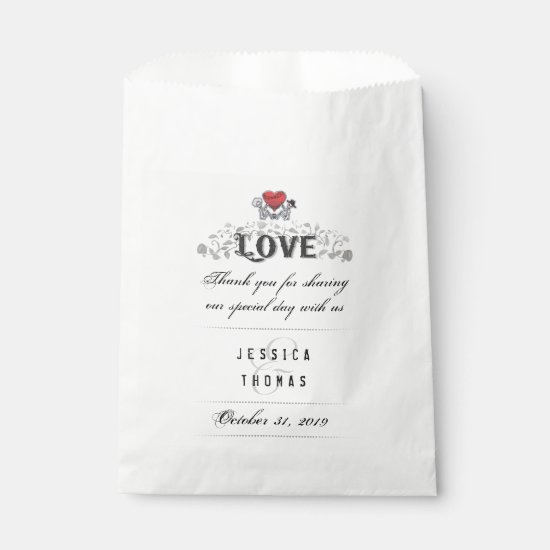 Halloween Skeletons Red Heart LOVE Wedding Names Favor Bag