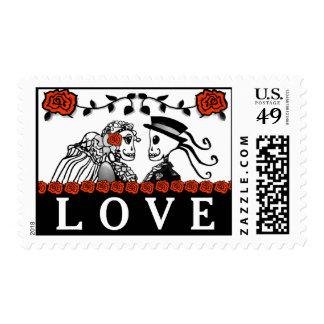 Halloween Skeletons Red Roses Wedding LOVE Postage