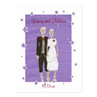 Halloween Skeletons Save the date Wedding Postcard