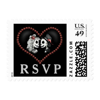 Halloween Skeletons Wedding Black Heart RSVP Postage