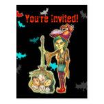 Halloween - Skinny Witch Postcard