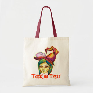 Halloween - Skinny Witch Tote Bags