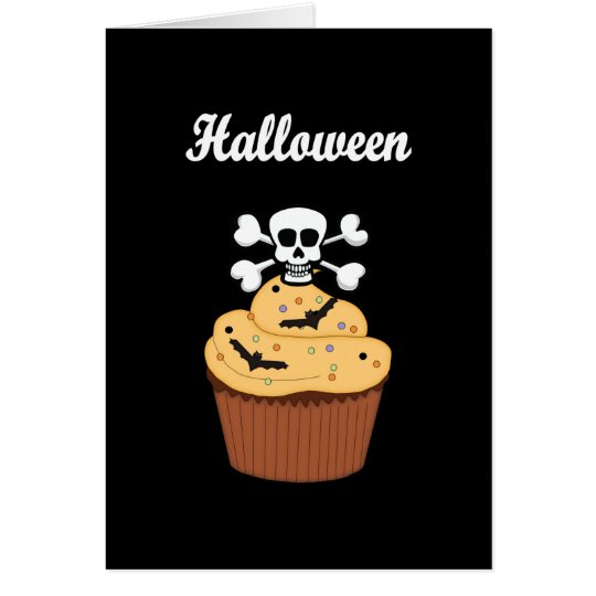 Halloween Skull and Bats Card