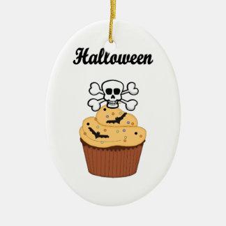 Halloween Skull and Bats Ceramic Ornament